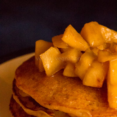 eggless banana apple cider pancake