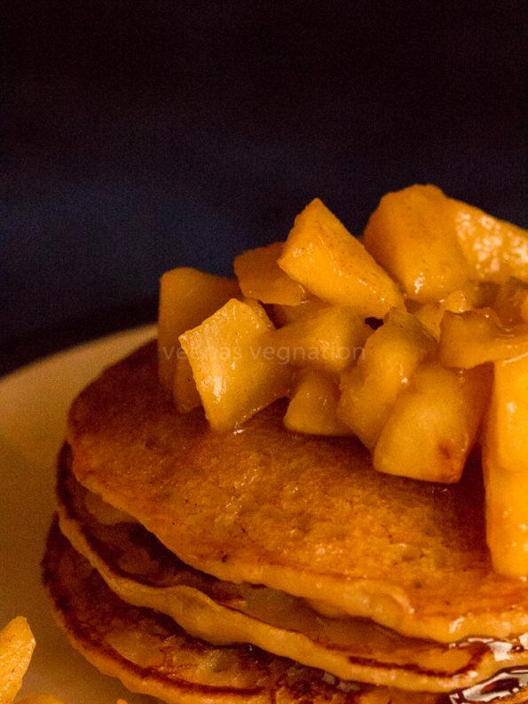 eggless banana apple cider pancakes