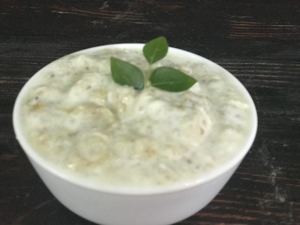 Smoked eggplant and quinoa with yogurt