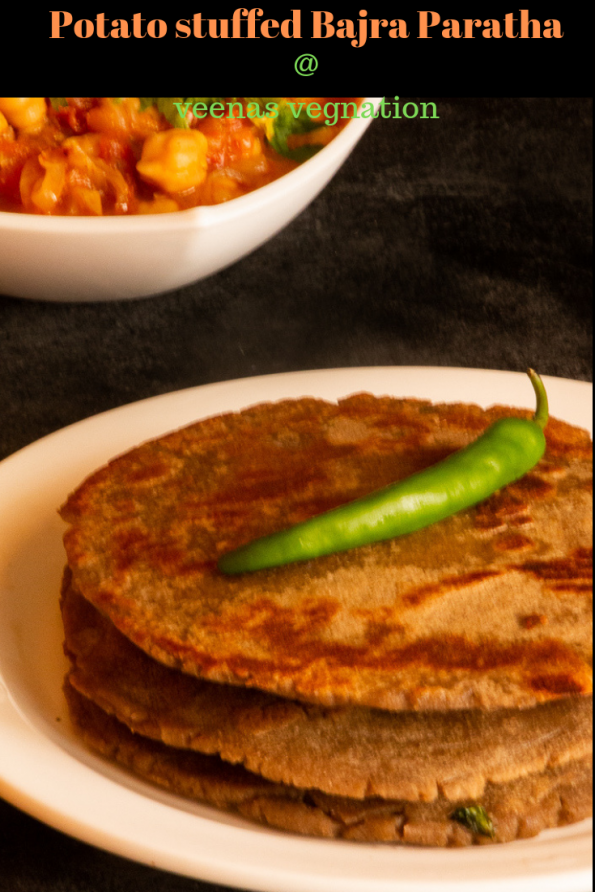 Healthy potato stuffed bajra paratha