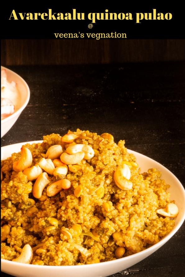 Avarekaalu Quinoa pulao